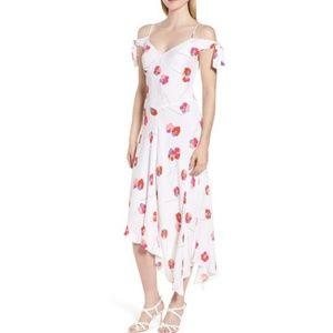 LEWIT Tie Sleeve Cold Shoulder Floral Dress